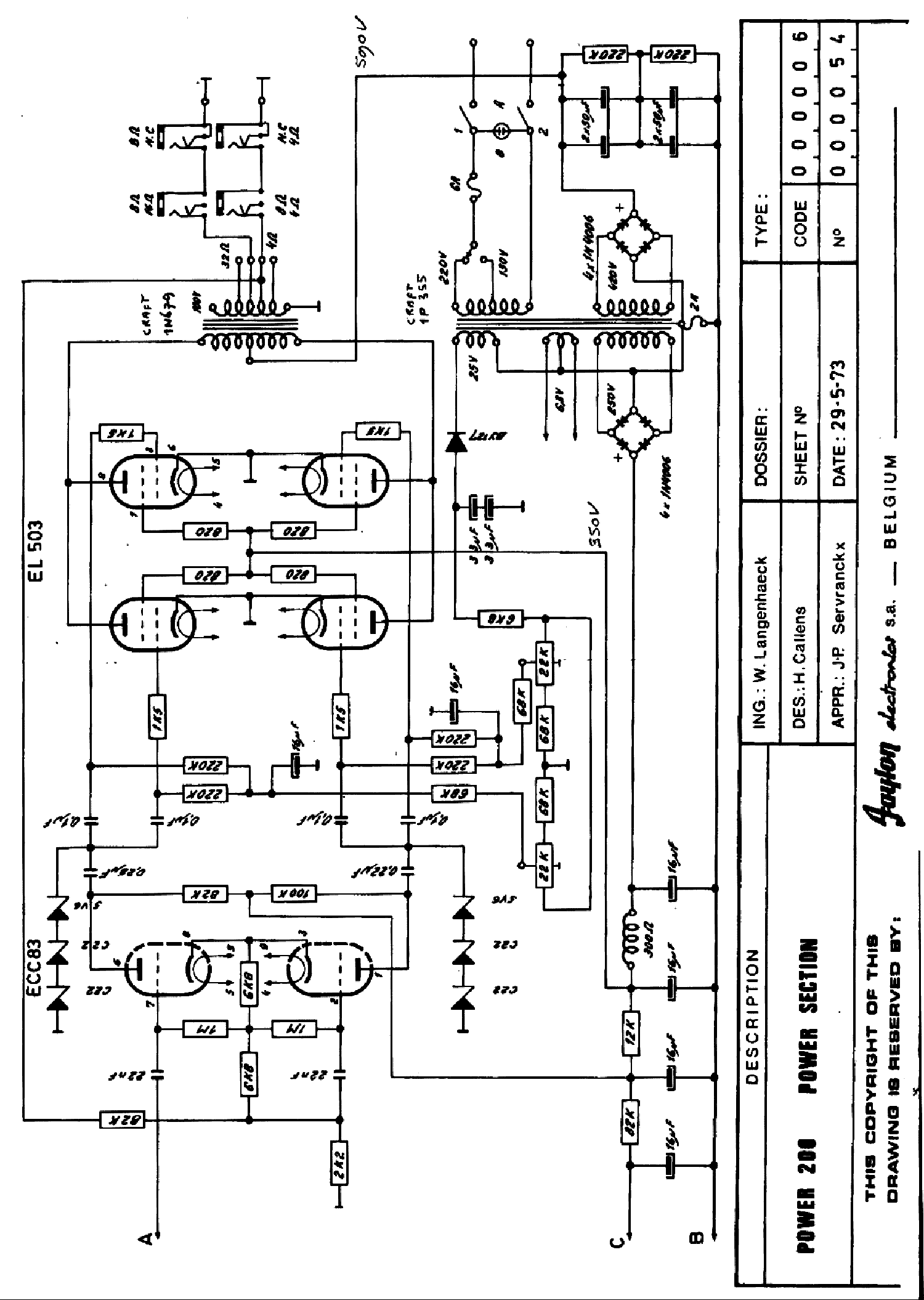 FAYLON POWER-200 AUDIO PA 1973 SCH Service Manual download