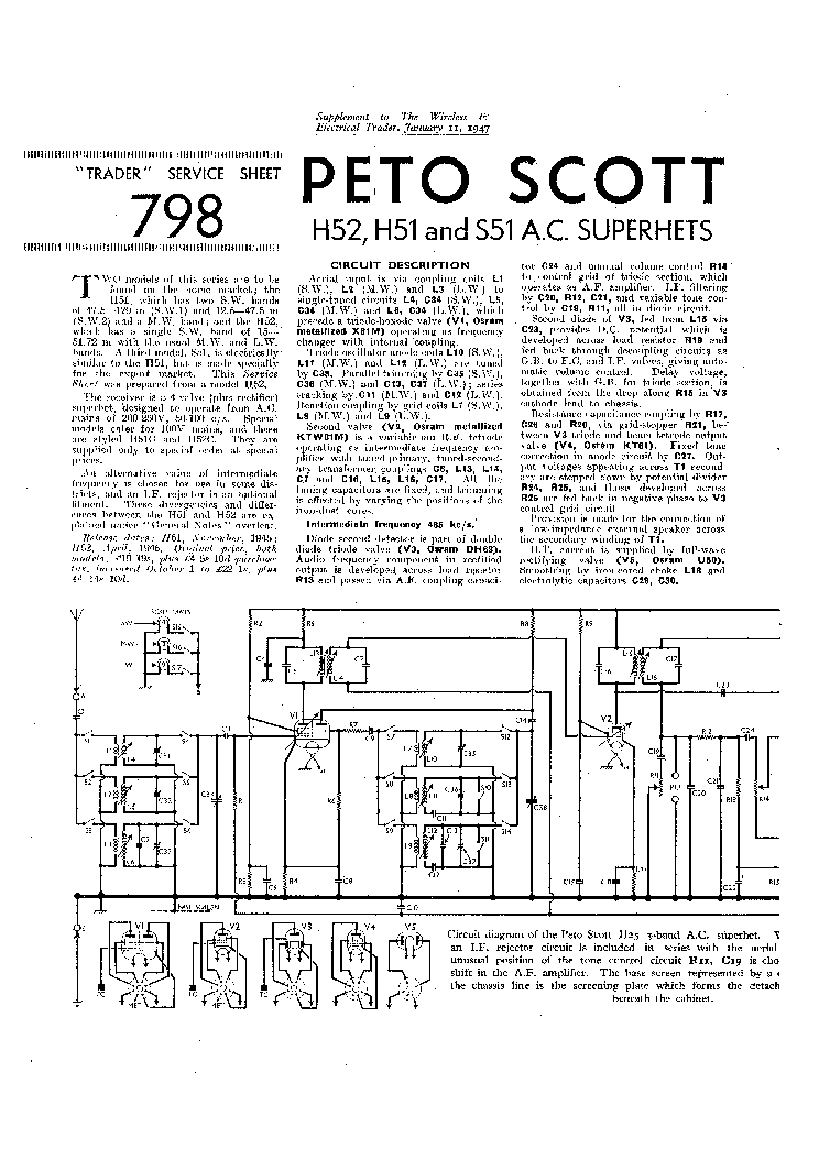 PETO SCOTT H52 H51 S51 AC RADIO 1947 SM Service Manual