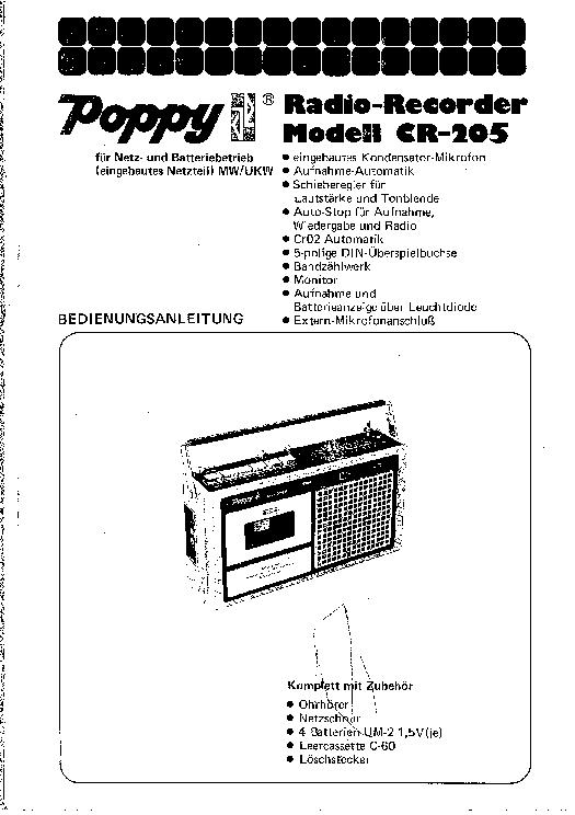 POPPY CR-205 KAZETTAS MAGNO Service Manual download