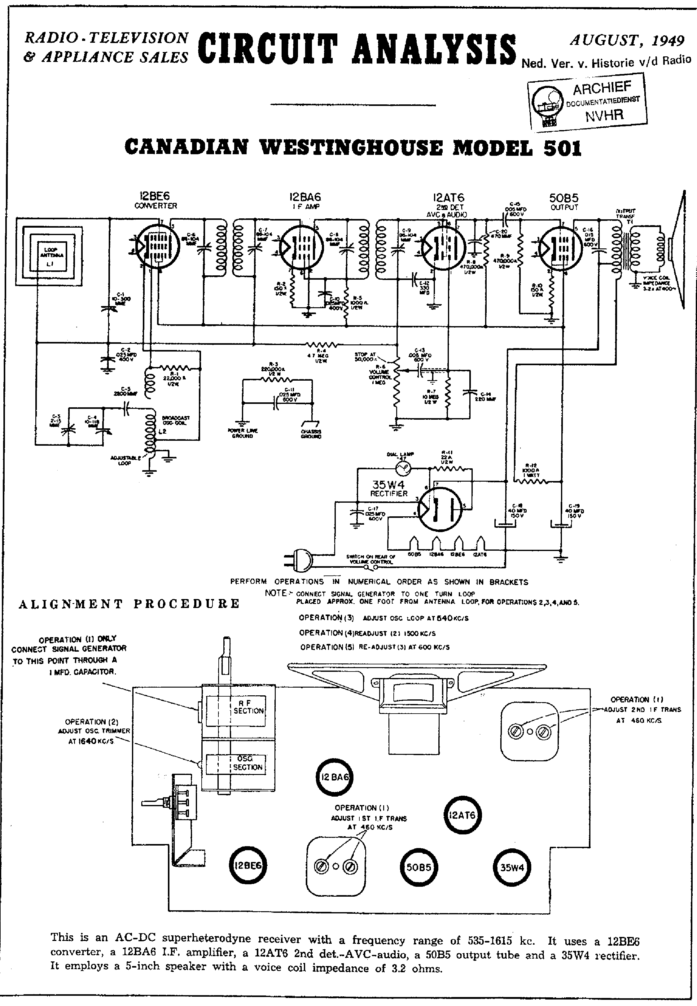 WESTINGHOUSE RADIO WR-264. Service Manual download