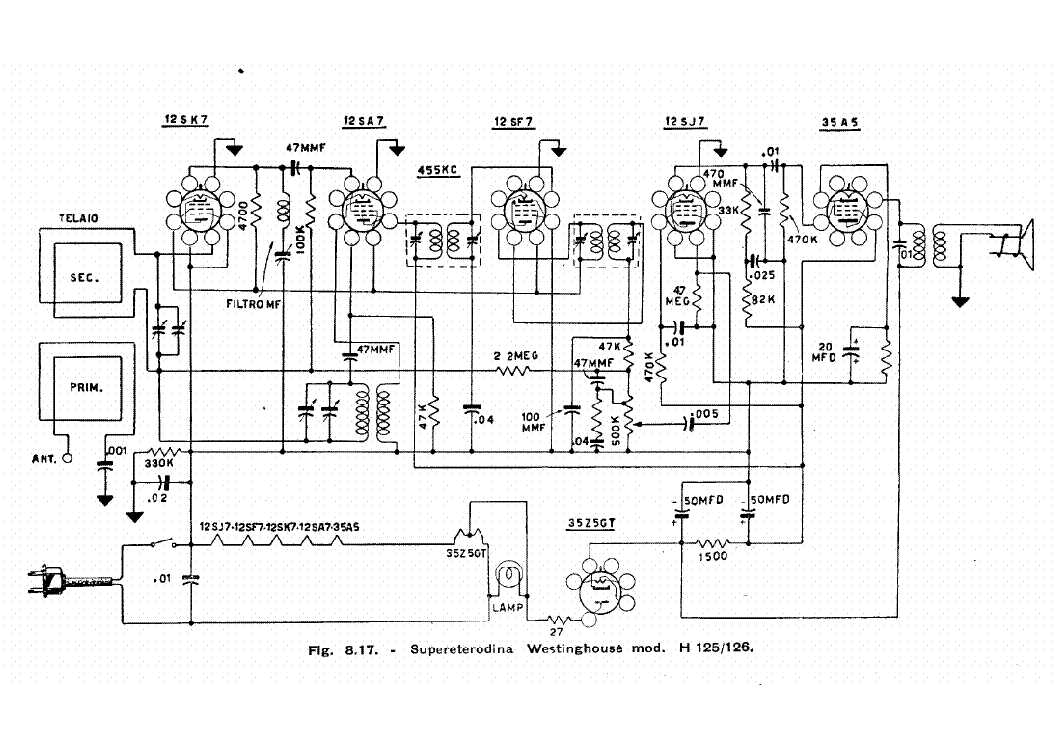 WESTINGHOUSE RADIO WR-165 SCH. Service Manual download