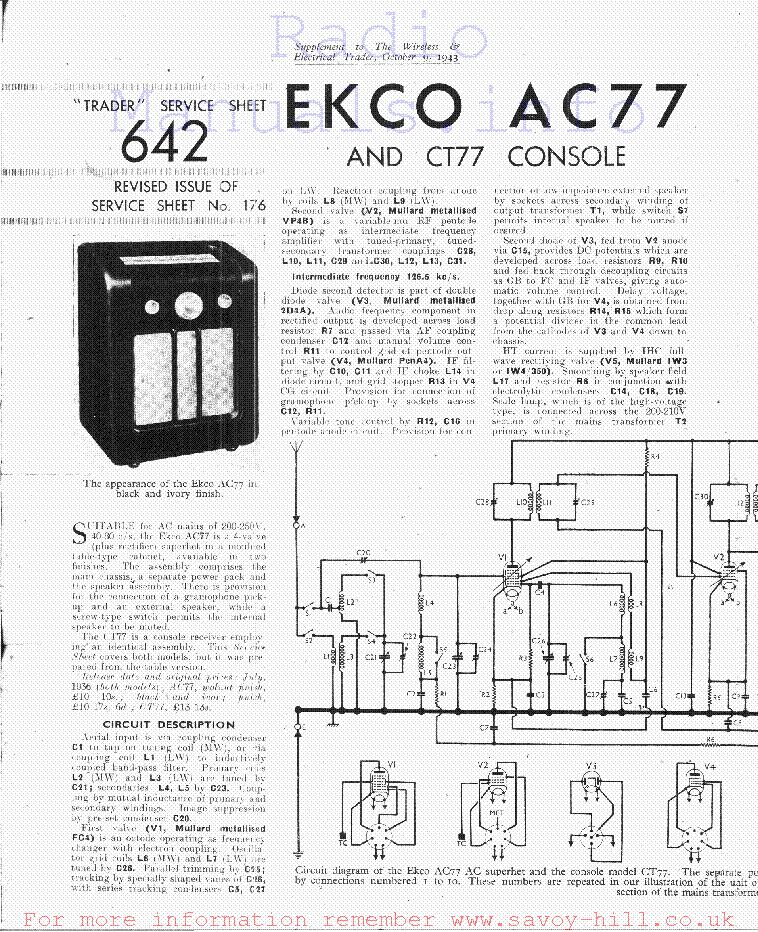 EKCO CR152 CAR-RADIO SM Service Manual download