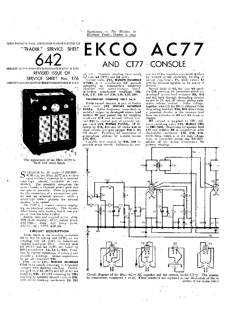EKCO AC77 RADIO 1943 SM Service Manual download