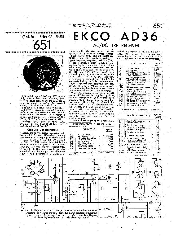 EKCO AD36 TRF RADIO 1943 SM Service Manual download