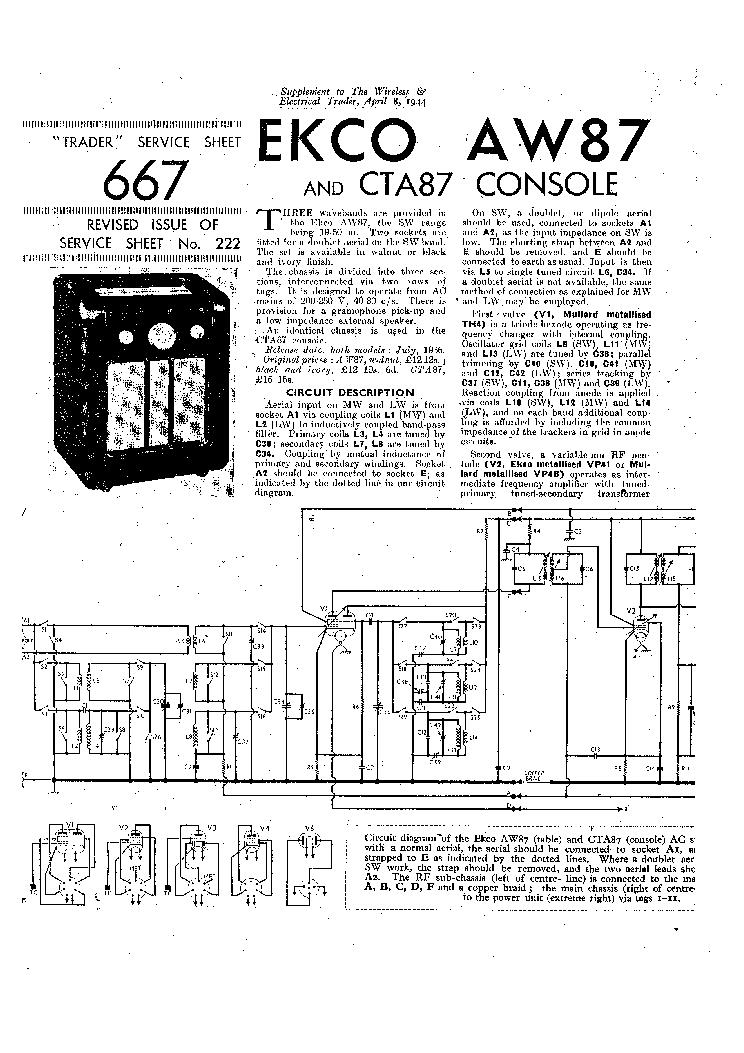 EKCO AW87 RADIO CTA87 CONSOLE 1944 SM Service Manual