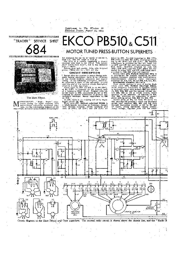 EKCO PB510 C511 MOTOR TUNED SUPER RADIO 1944 SM Service