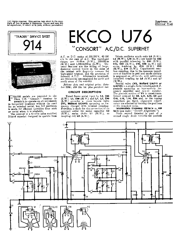 EKCO U76 AC-DC RADIO SM Service Manual download