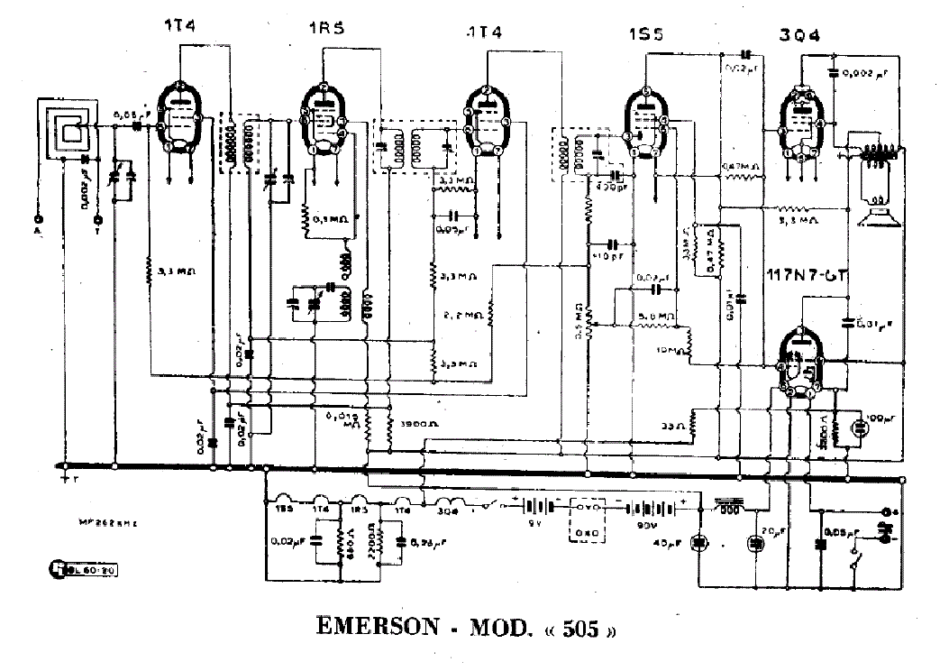 EMERSON 558 BATTERY RADIO 1948 SCH Service Manual free