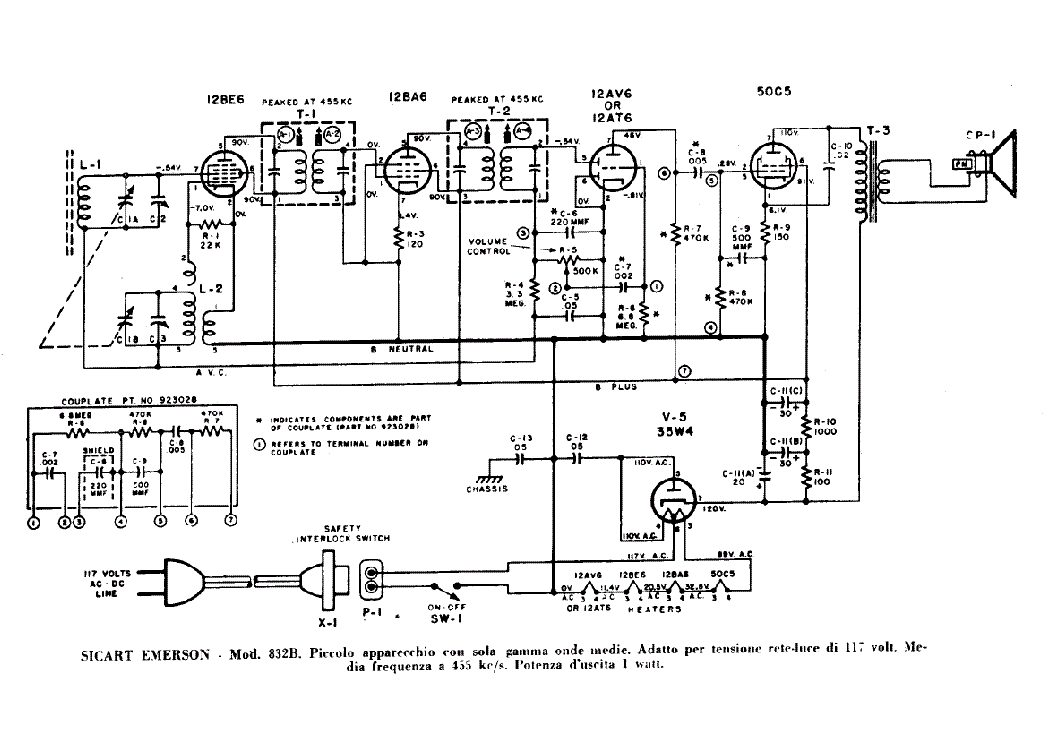 EMERSON 832B RADIO RECEIVER SCH Service Manual download
