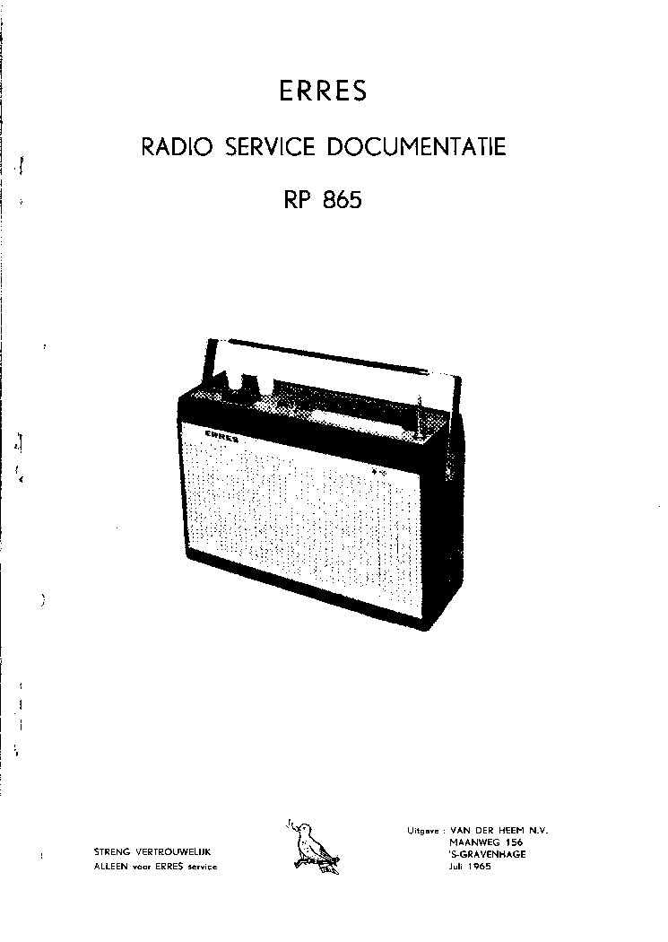 ERRES RP865 PORTABLE RADIO 1965 SM Service Manual download