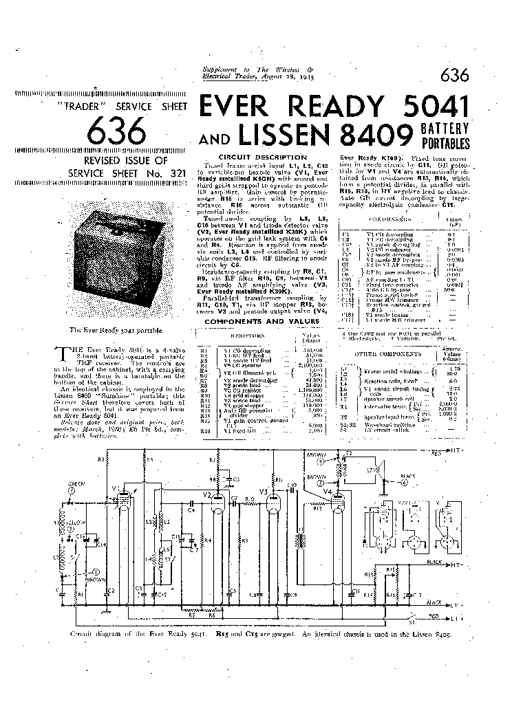 EVER READY 5041 LISSEN 8409 BATTERY PORTABLE RADIO 1943 SM