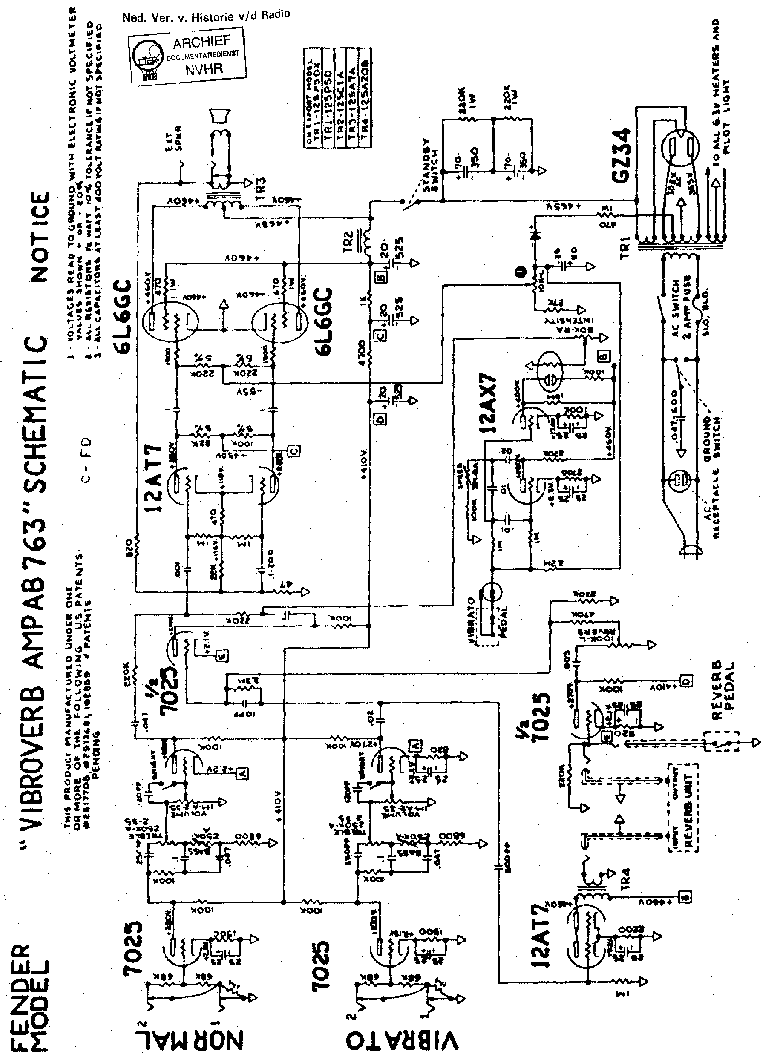 FENDER CONCERT-6G12A Service Manual download, schematics, eeprom, repair info for electronics