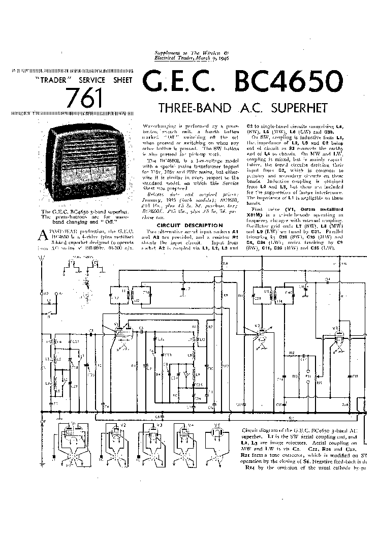 GEC BC4650 AC RADIO 1946 SM Service Manual download