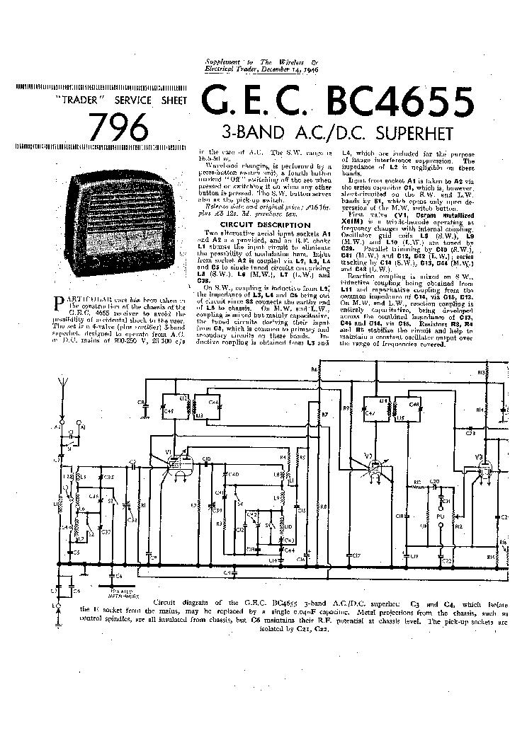 GEC BC4655 AC-DC RADIO 1946 SM Service Manual download