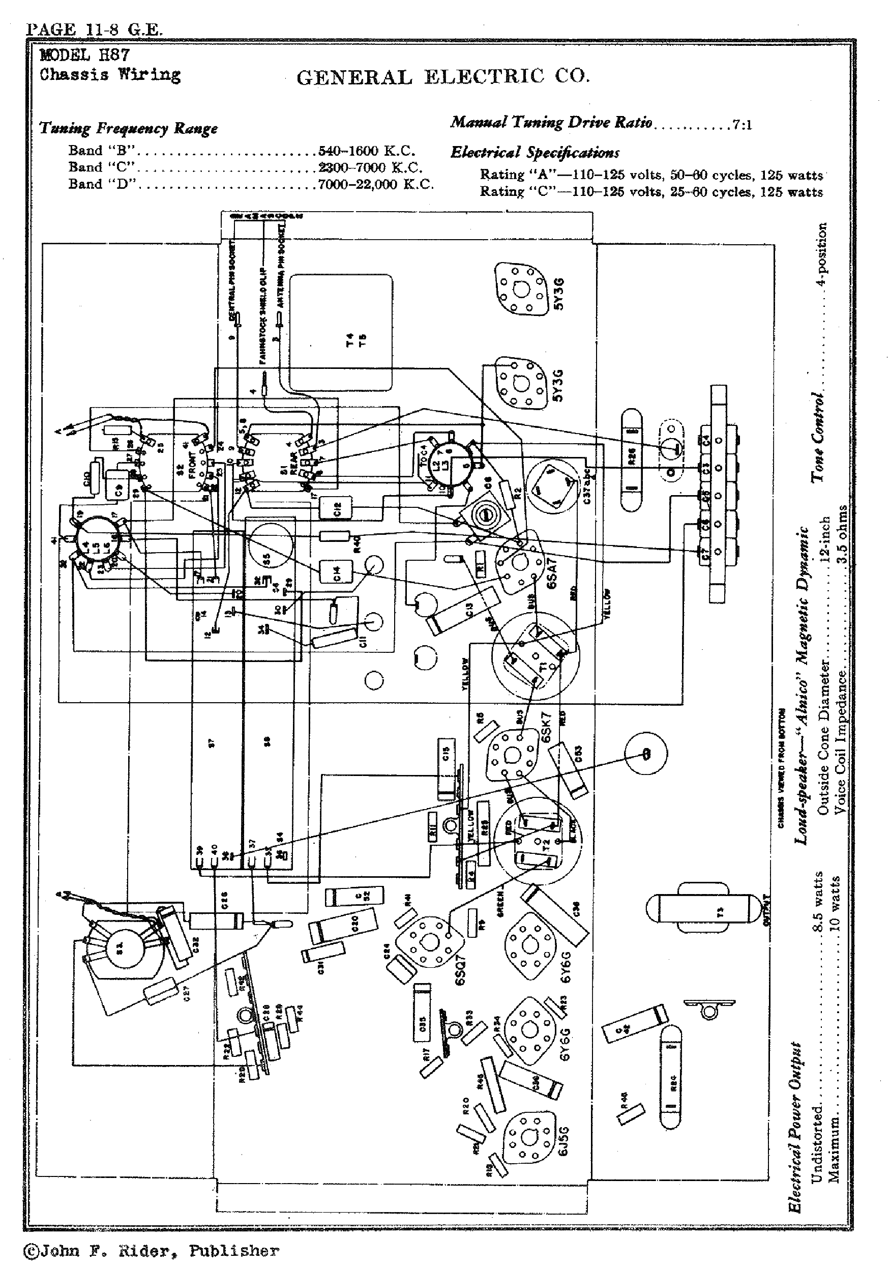 GENERAL ELECTRIC H87 RADIO SCH Service Manual download