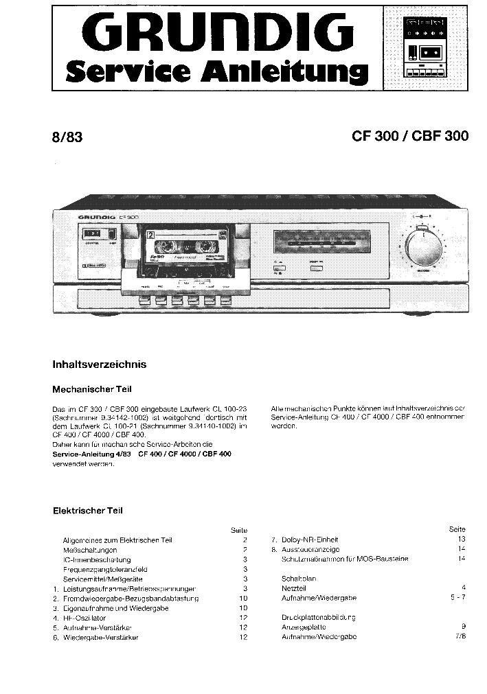 GRUNDIG CF 300 SM Service Manual download, schematics