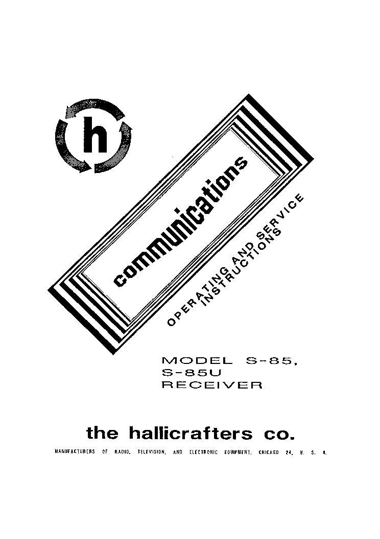HALLICRAFTERS S-85 U SW HAM RECEIVER RH VEVO SM Service