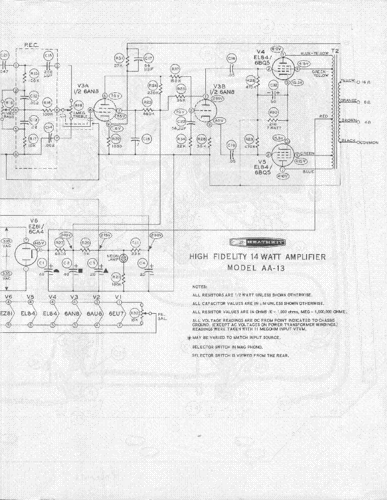 HEATHKIT AA13 14W AUDIO AMPLIFIER SM Service Manual