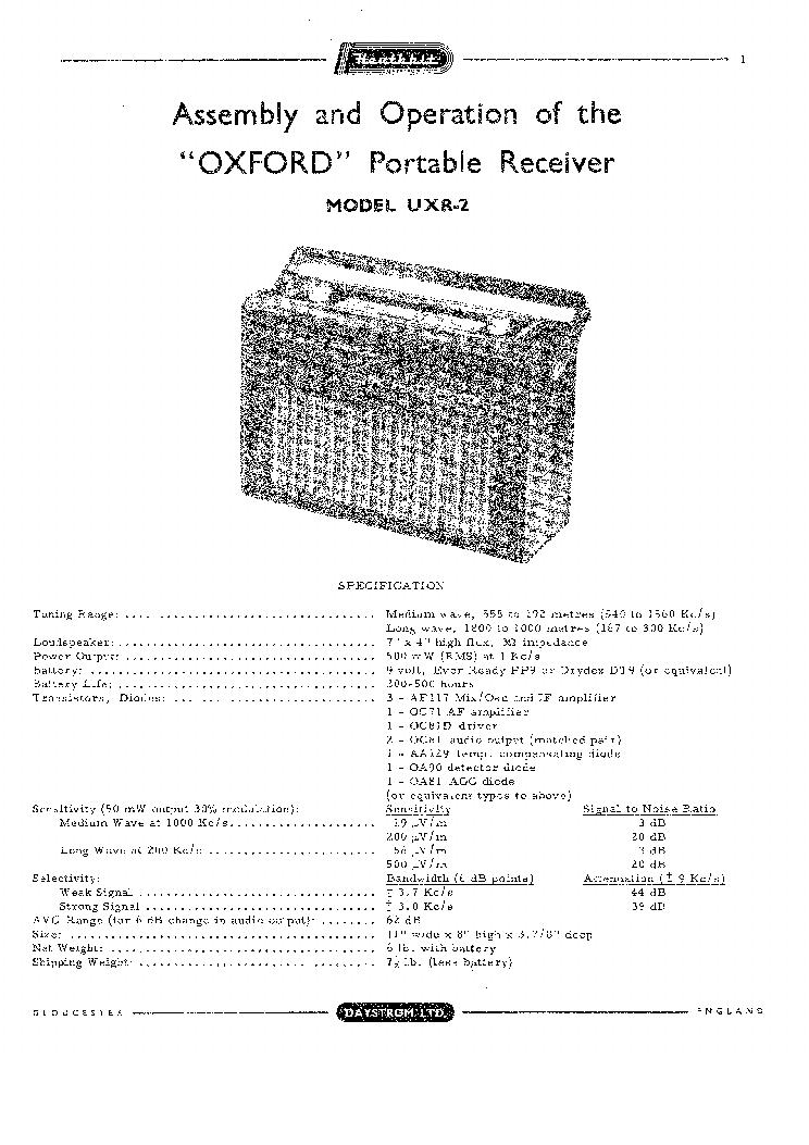 HEATHKIT XR-2 6 TRANSISTOR RADIO SCHEMATIC Service Manual