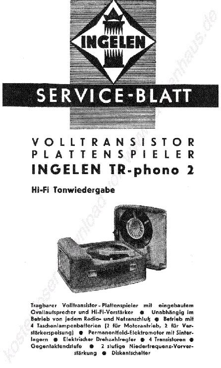 INGELEN TR56 PORTABLE RADIO 1965 SCH Service Manual free