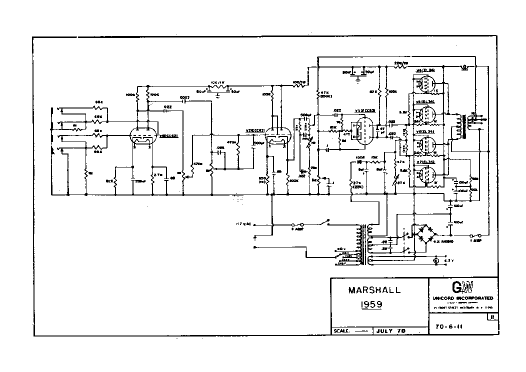 MARSHALL VS100R 100W Service Manual download, schematics