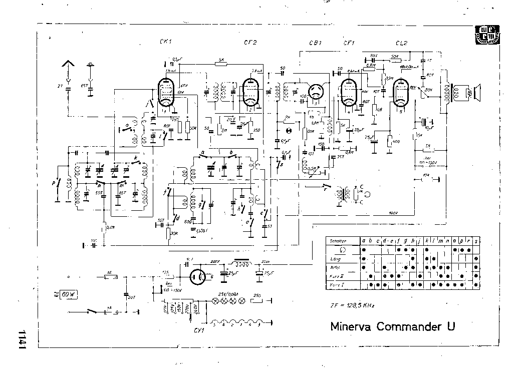 MINERVA COMMANDER-U RADIO 1934 SCH Service Manual download