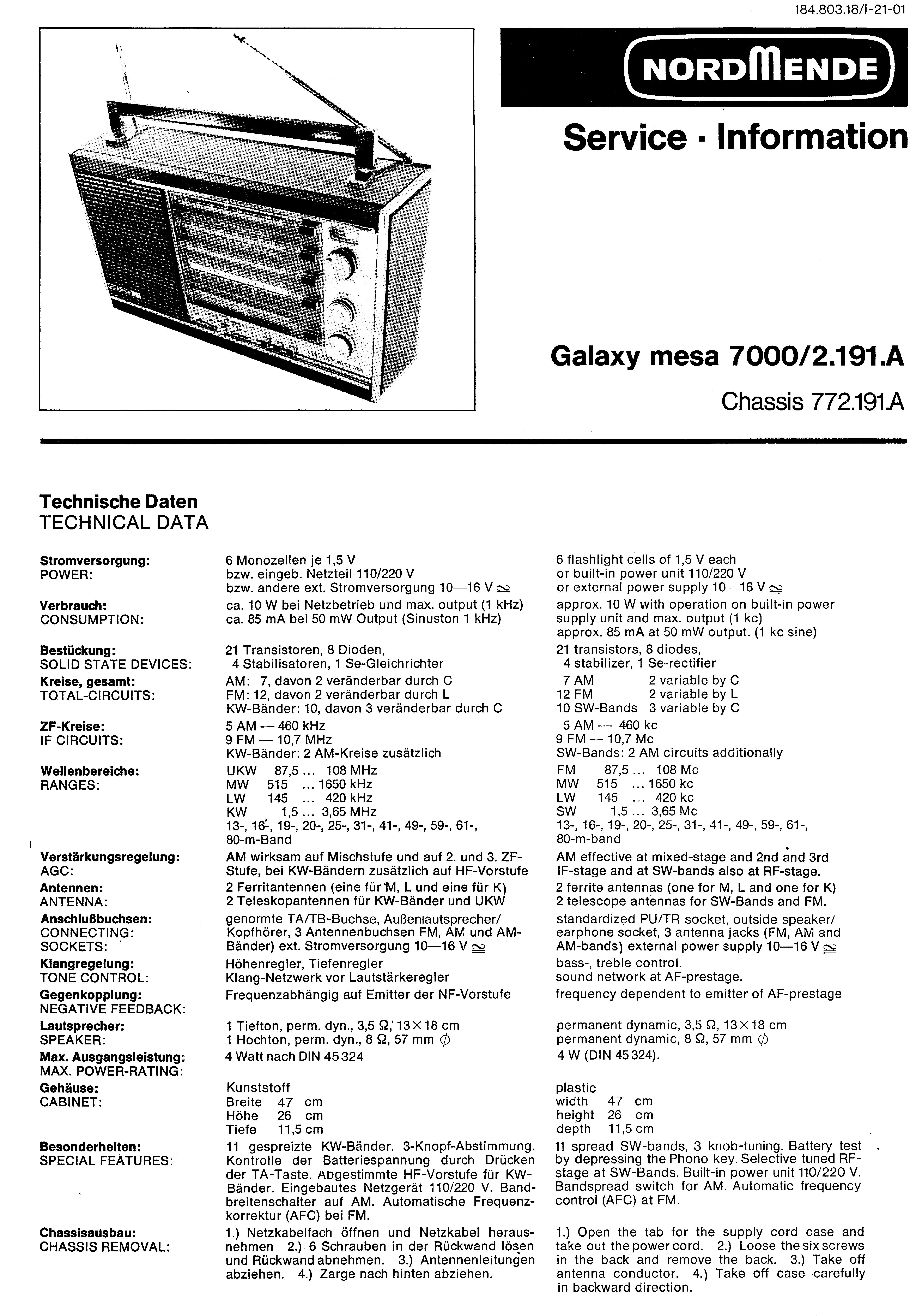 NORDMENDE GALAXY MESA 7000 SM Service Manual download