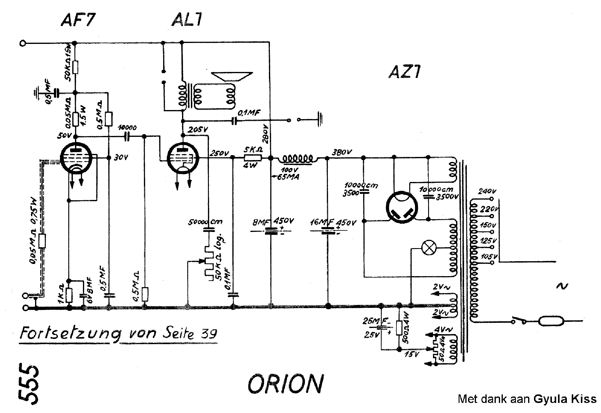 ORION 555 RADIO SCH Service Manual download, schematics