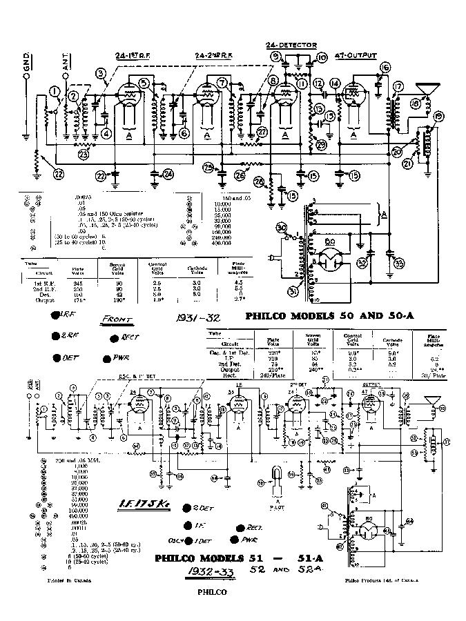 PHILCO MODEL 30 RADIO SCHEMATIC Service Manual free