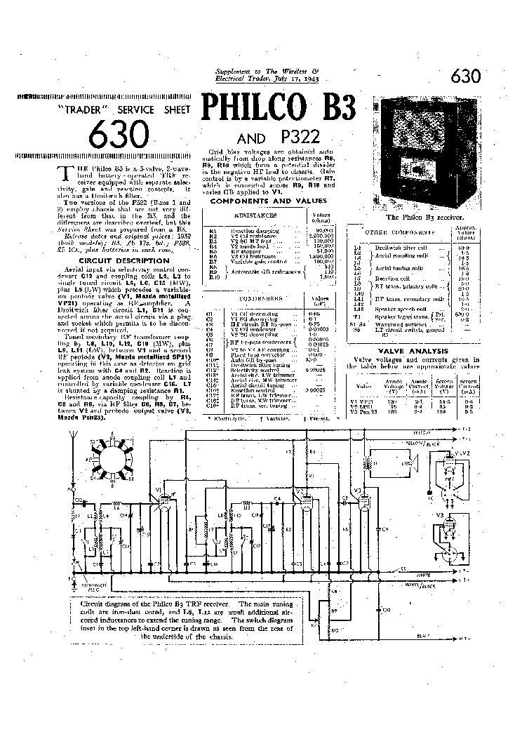 PHILCO 40-180 40-185 40-190 RADIO SCH Service Manual