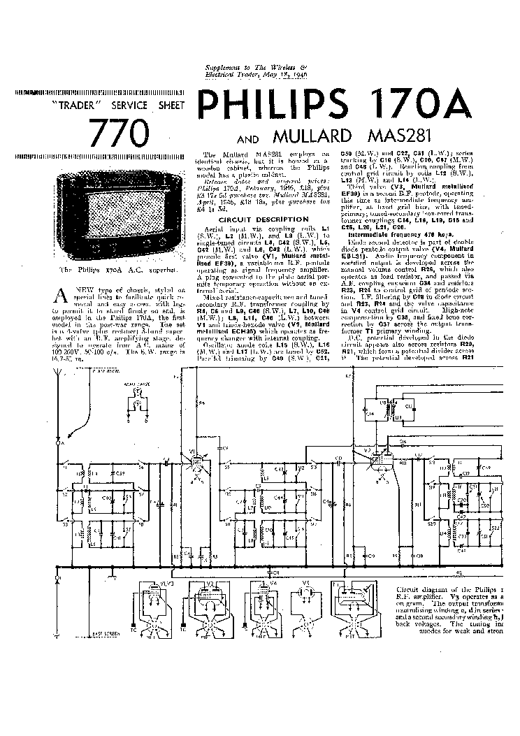 PHILIPS 170A MULLARD MAS281 RADIO 1946 SM Service Manual