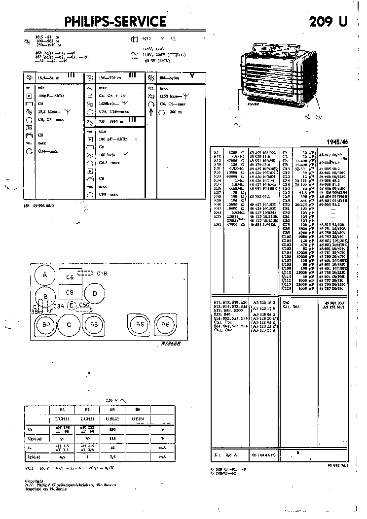 PHILIPS 209U Service Manual download, schematics, eeprom