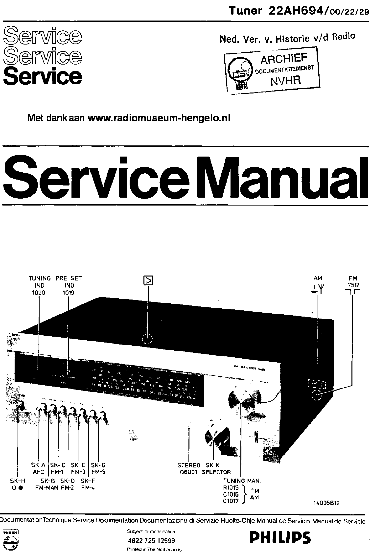 PHILIPS 22AH694-00-22-29 STEREO TUNER SM Service Manual