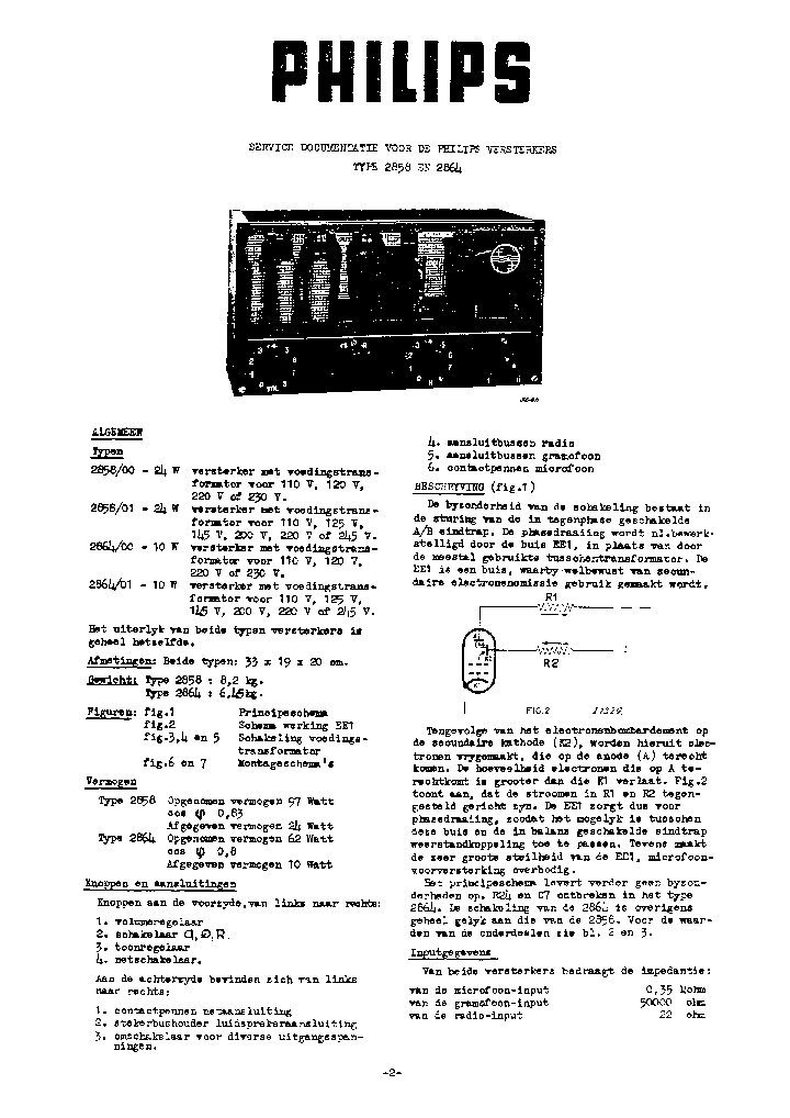 PHILIPS 2858 2864 Service Manual download, schematics