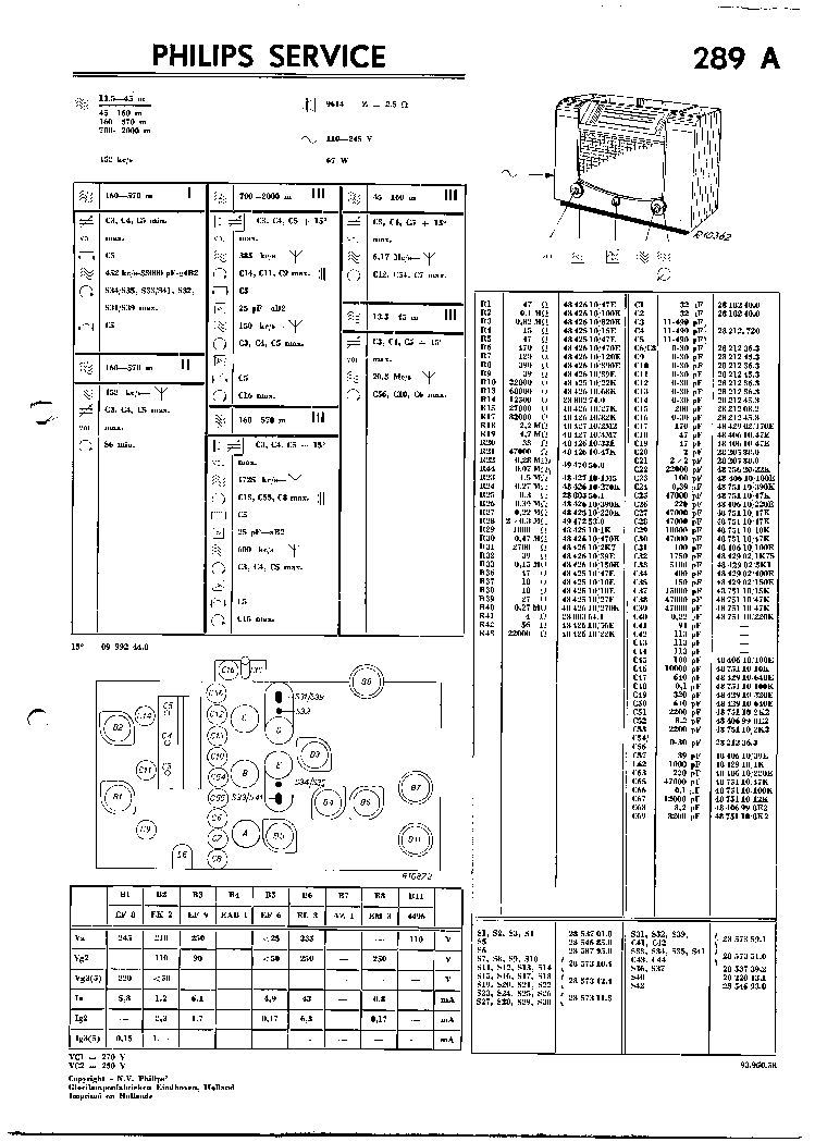 PHILIPS 289A VINTAGE RADIO SM Service Manual download