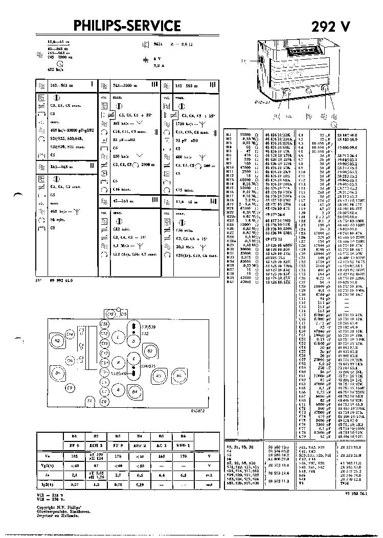 PHILIPS 292V VINTAGE RADIO SM Service Manual download