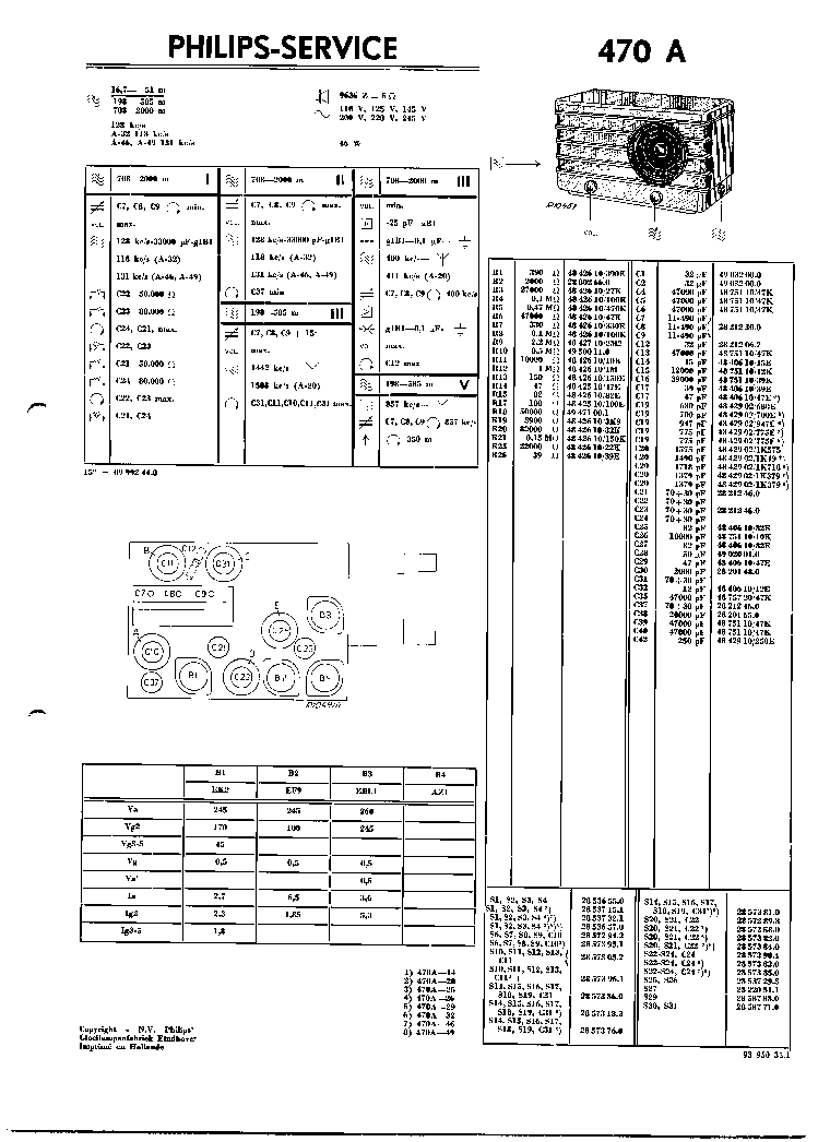 PHILIPS 470A VINTAGE RADIO SM Service Manual download