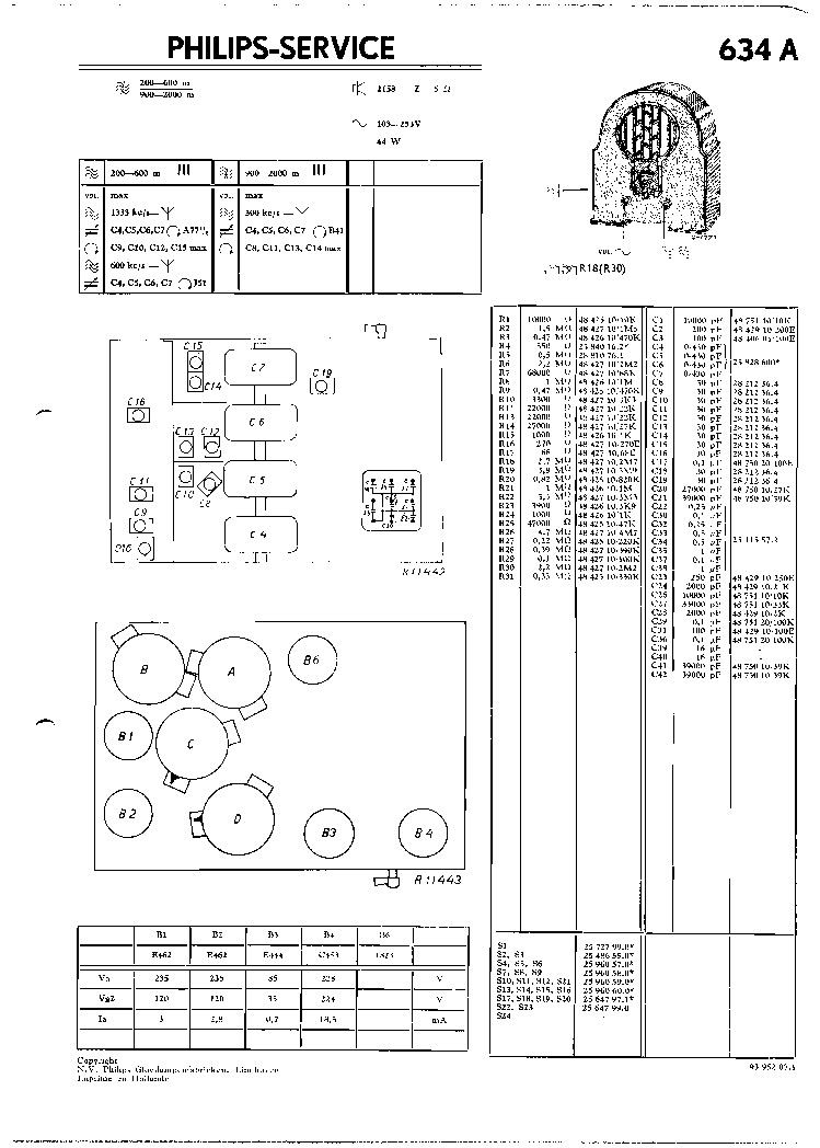PHILIPS 634A SM Service Manual free download, schematics