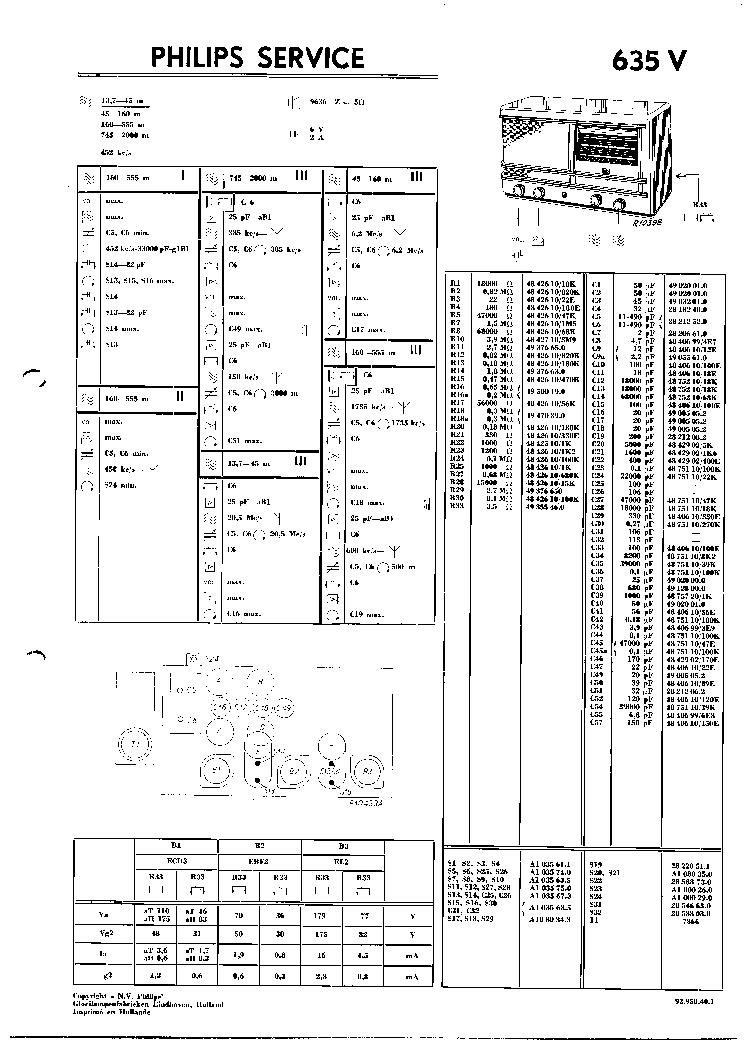PHILIPS 635V VINTAGE RADIO SM Service Manual download