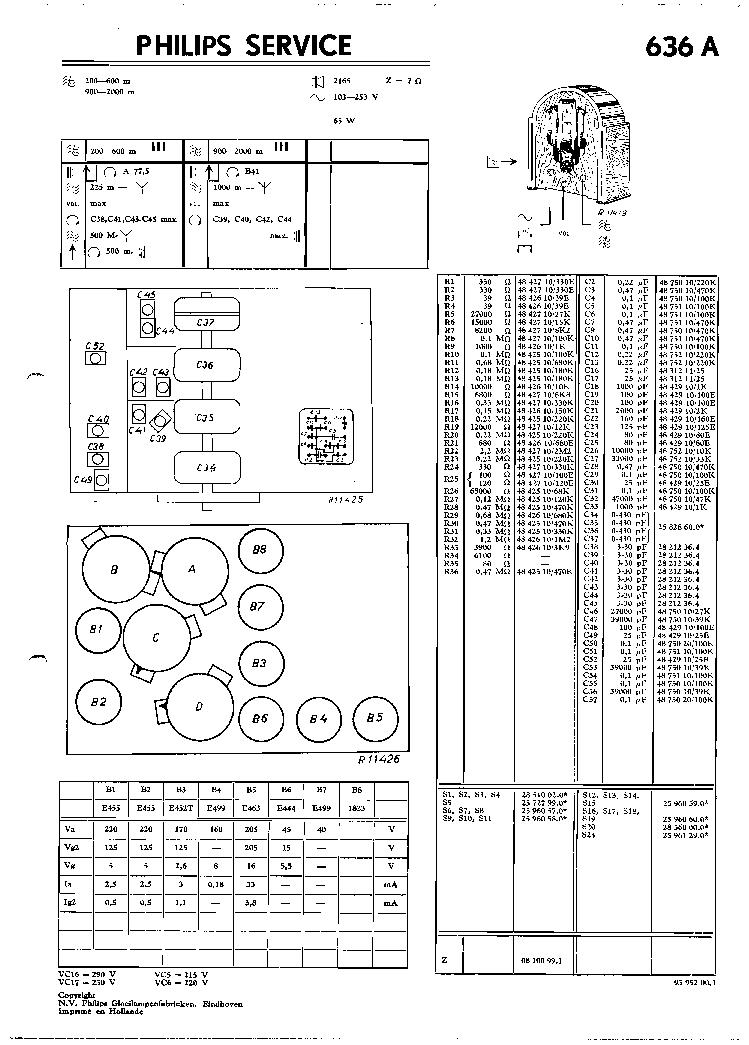 PHILIPS 636A SCH Service Manual download, schematics