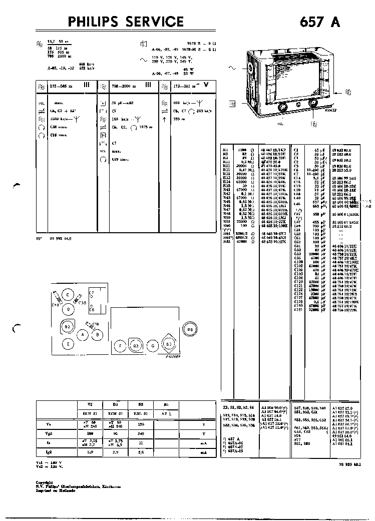 PHILIPS 657A VINTAGE RADIO SM Service Manual download
