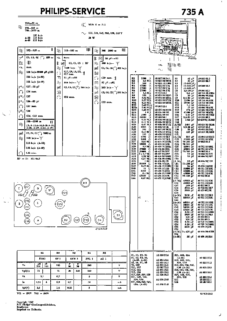 PHILIPS 735A 1 Service Manual download, schematics, eeprom