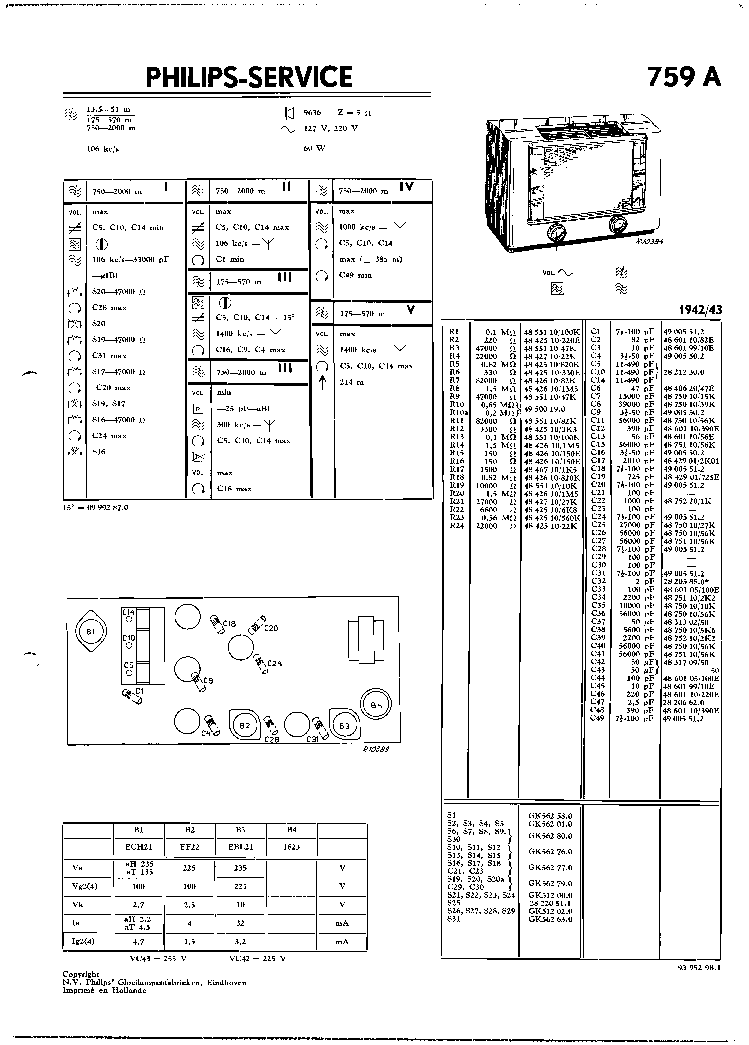 PHILIPS BX373A Service Manual free download, schematics