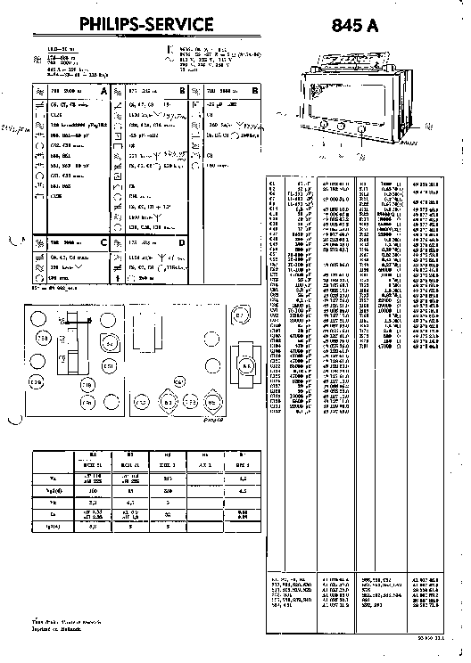 PHILIPS 845A AC RADIO 1941 SM Service Manual download
