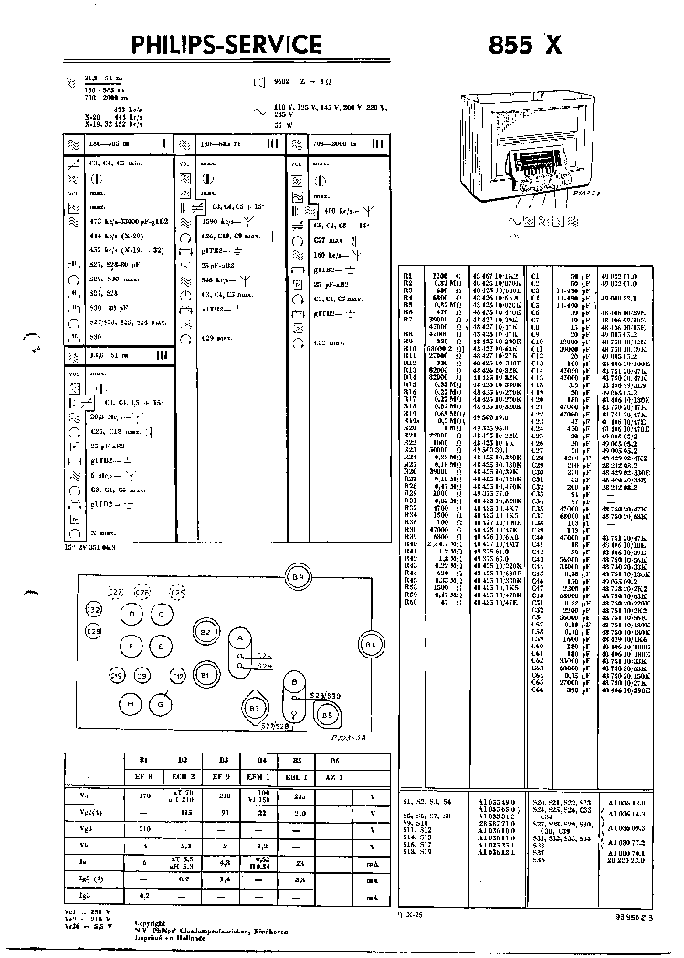 PHILIPS 855X VINTAGE RADIO SM Service Manual download