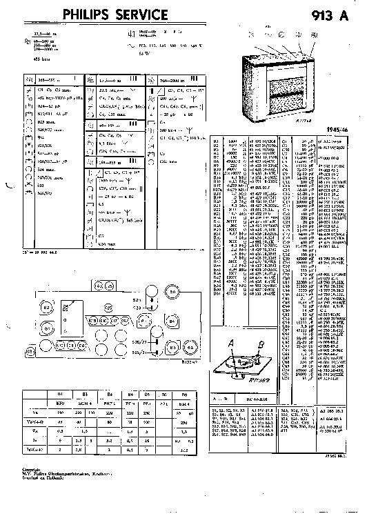PHILIPS 830C VINTAGE RADIO SM Service Manual free download