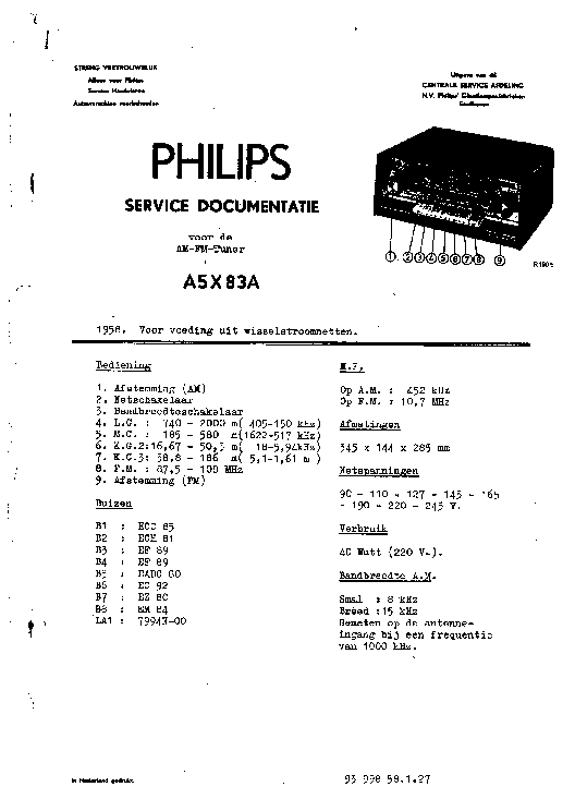 PHILIPS A5X83A-05 AM-FM TUNER 1958 SM Service Manual