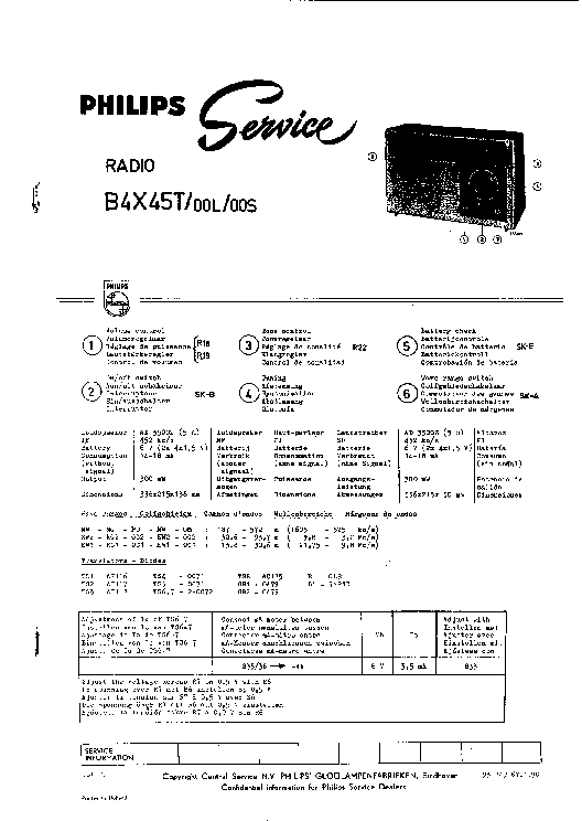 PHILIPS B4X45T Service Manual download, schematics, eeprom