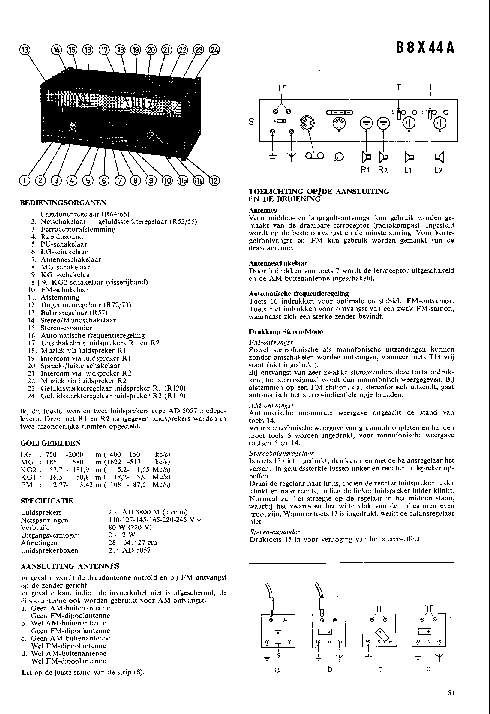 PHILIPS B8X44A AM-FM STEREO RADIO SM Service Manual