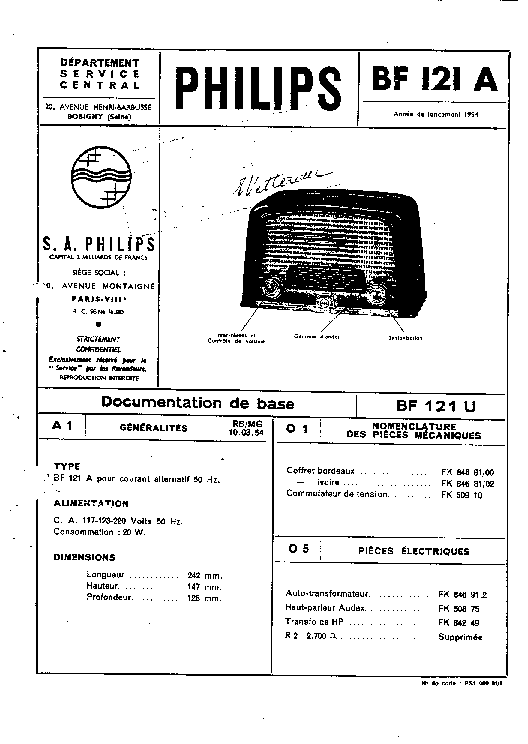 PHILIPS BF121A AC RADIO 1954 SM Service Manual download